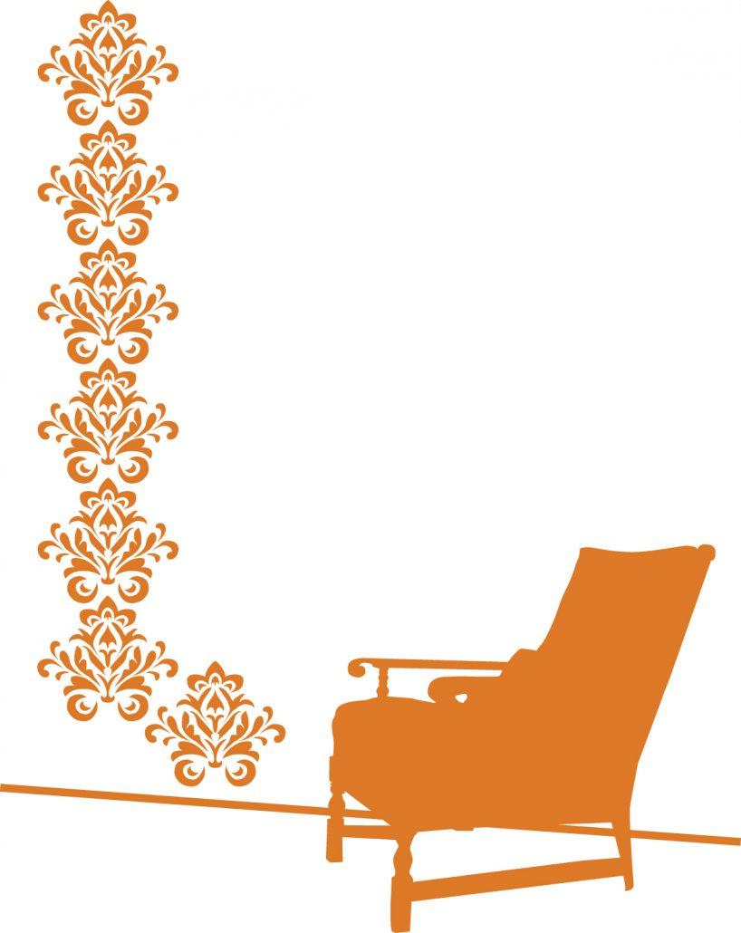Orange damask chair -  Untitled Damask Chair